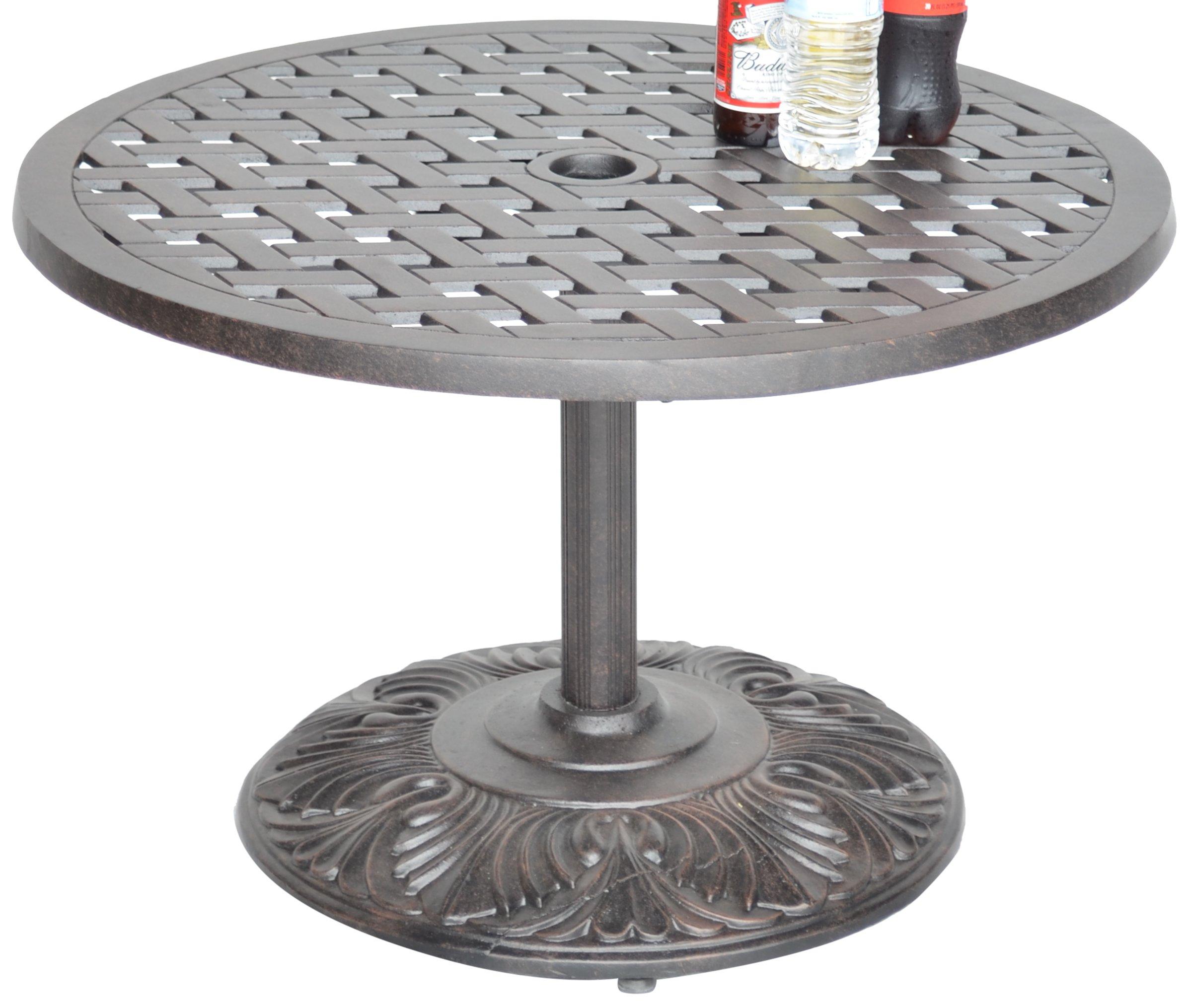K&B PATIO LD1031PE-30 Nassaupedestal Coffee Table, 30'', Antique Bronze