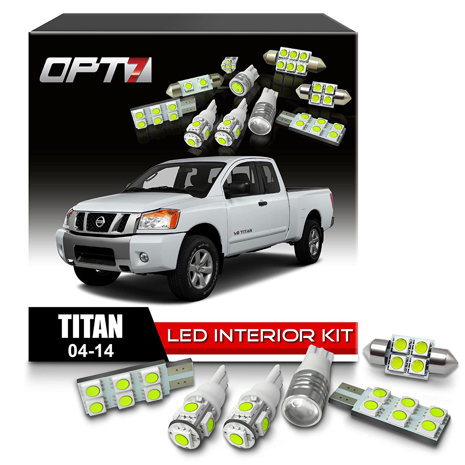 Opt7 16pc Interior Led Replacement Light Bulbs Package 07 Titan Fuse Box Set Kit For 04 14 Nissan 6000k White Dome Map Courtesy License Plate And More