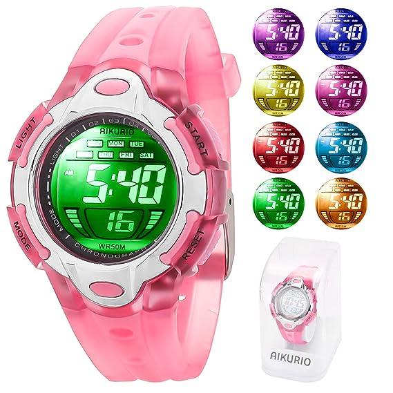 AIKURIO Niños Reloj Digital 50 M Impermeable con Correa de Silicona 8  Colores Luces LED para Deportes al Aire Libre AKR006  Amazon.es  Relojes f401d357f219