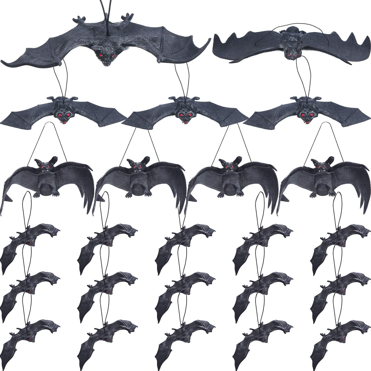 4 Pieces Scary Plastic Fake Bats Halloween Haunted House Party Trick Props