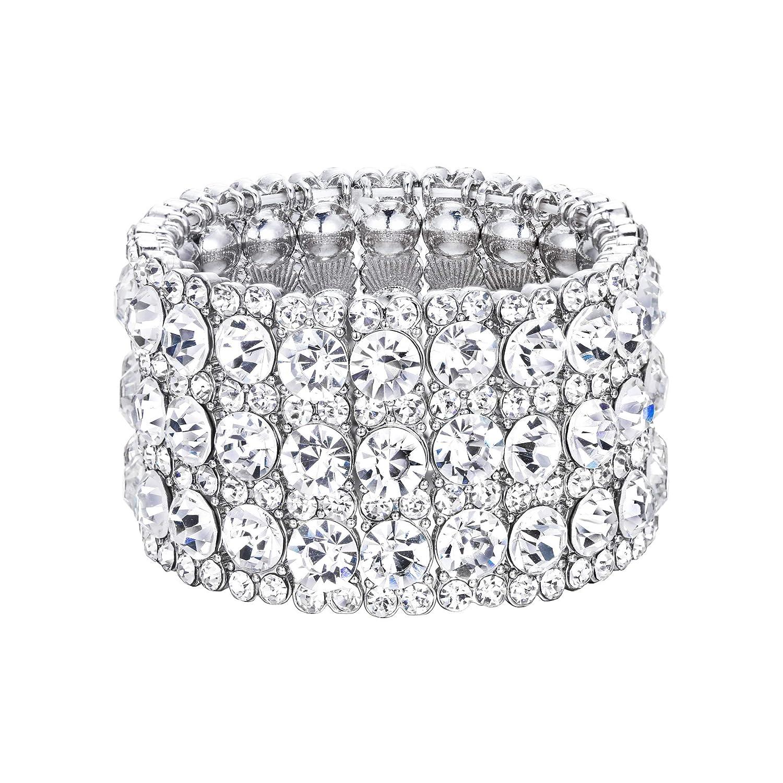 EVER FAITH Women's Austrian Crystal Bride Heart Art Deco Elastic Stretch Bracelet Clear N10664-2