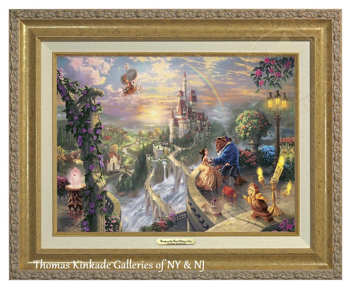 Thomas Kinkade Beauty and the Beast Falling in Love 12'' X 16'' Canvas Classic (Gold)