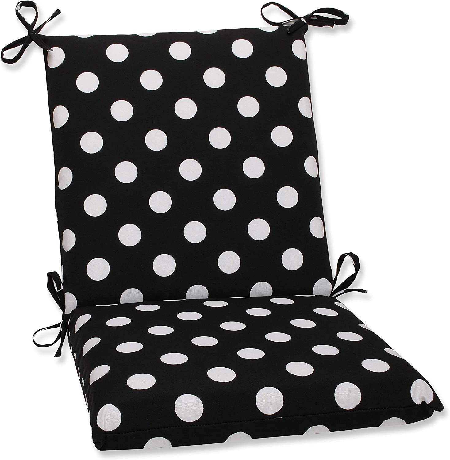 Pillow Perfect Indoor Outdoor Black White Polka Dot Chair Cushion, Squared