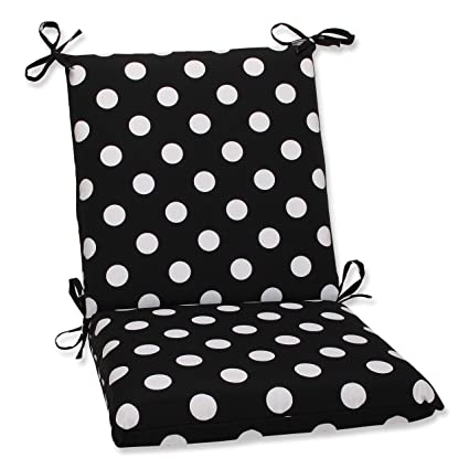 Beau Pillow Perfect Indoor/Outdoor Black/White Polka Dot Chair Cushion, Squared
