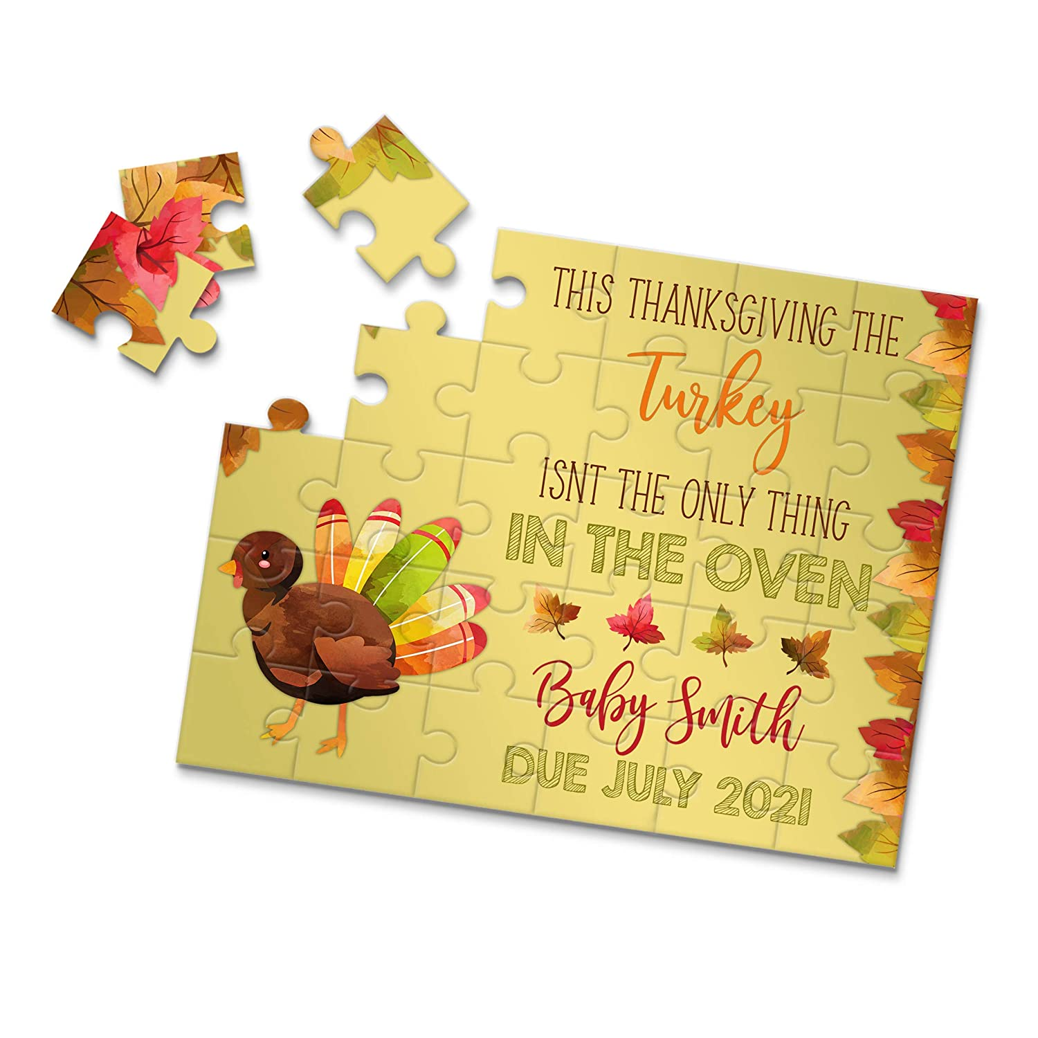 P2354 Having a baby Announcement Ideas Baby Announcement Thanksgiving Themed Pregnancy Announcement Puzzle- Pregnancy Reveal