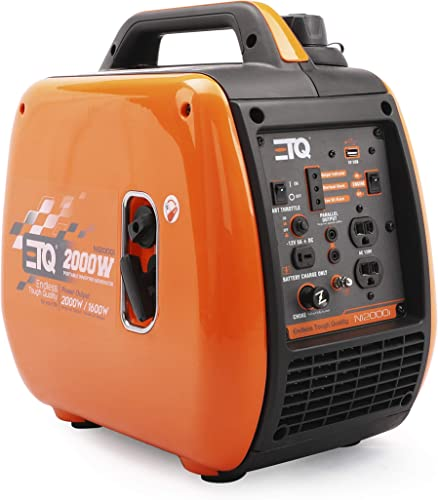 Etq NI2000i Tough Quality 2000-Watt Portable Gas Powered Inverter Generator, Extremely Quiet- CARB Compliant