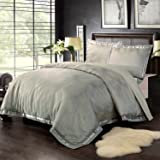 Simple&Opulence Bamboo Cotton Polyester Golden Lattice Jacquard Frabric King Quilt Queen Full Twin Duvet Cover Set(King)