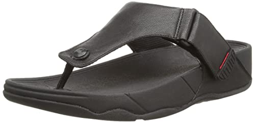 34c7e1004 Fit Flop Men s Trakk Ii All Black Leather Sandals and Floaters - 10 UK India