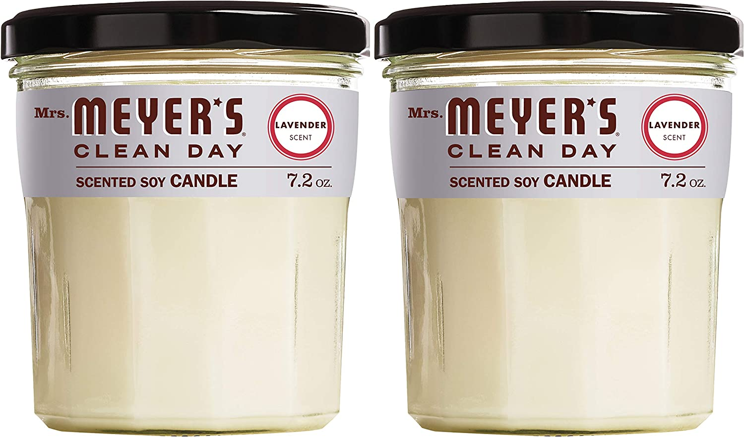 Mrs. Meyer's Clean Day Scented Soy Aromatherapy Candle, 35 Hour Burn Time, Made with Soy Wax, Lavender, 7.2 oz- Pack of 2: Health & Personal Care