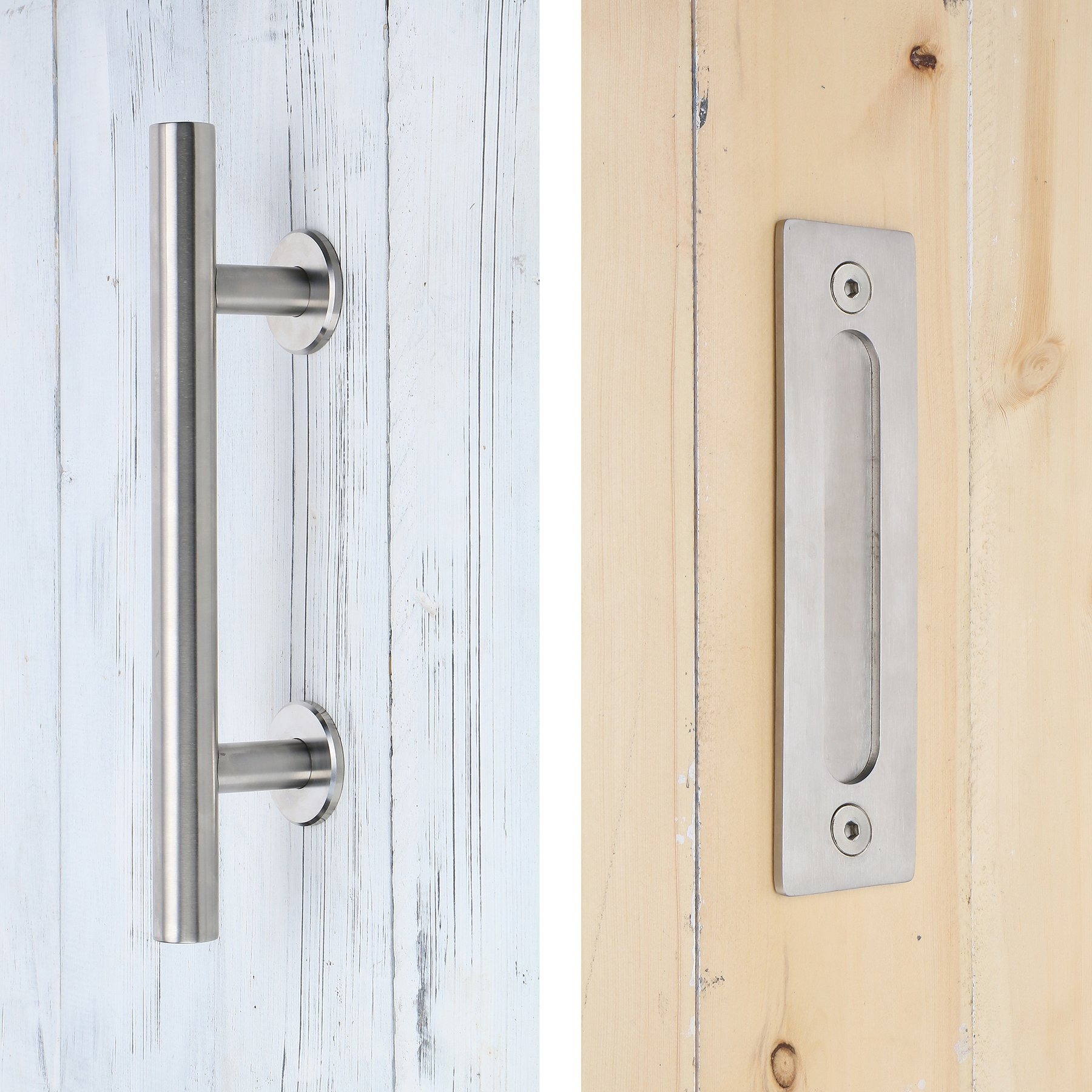 SMARTSTANDARD SHH0801STAINLESS Heavy Duty Large Rustic Flush and Pull Barn Door Handle, 12'', Stainless Steel, Simple and Easy to Install