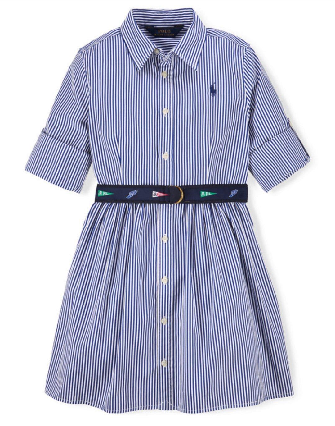 Ralph Lauren Polo las niñas rayas popelín shirtdress vestido 10 ...