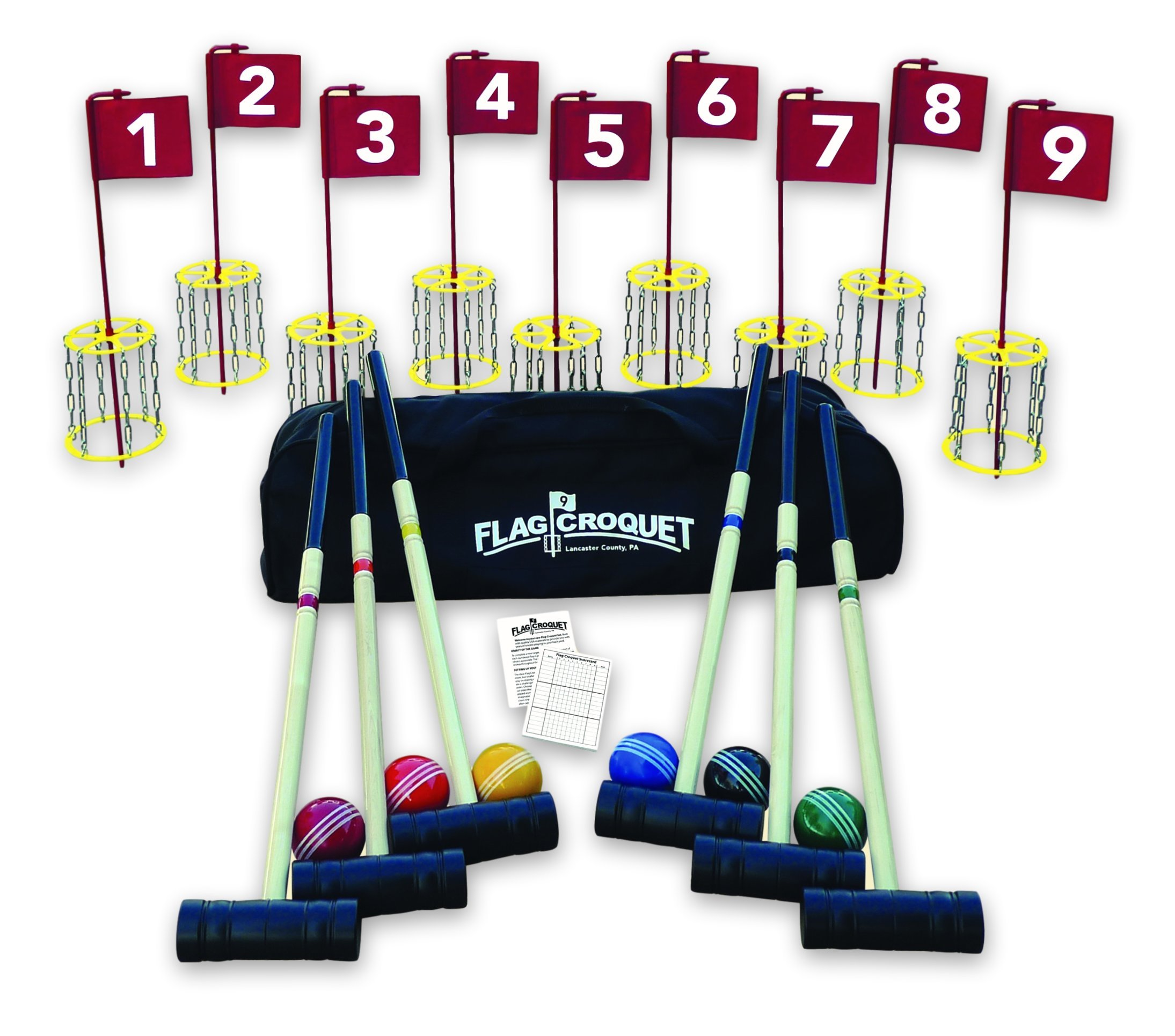 Amish-Made Deluxe Flag Croquet Golf Game Set by AmishToyBox.com