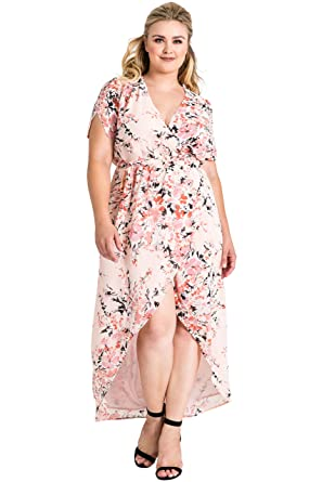 aa364aaa602 Standards   Practices Plus Size Women Pink Floral Short Sleeve V-Neck Maxi  Dress Size