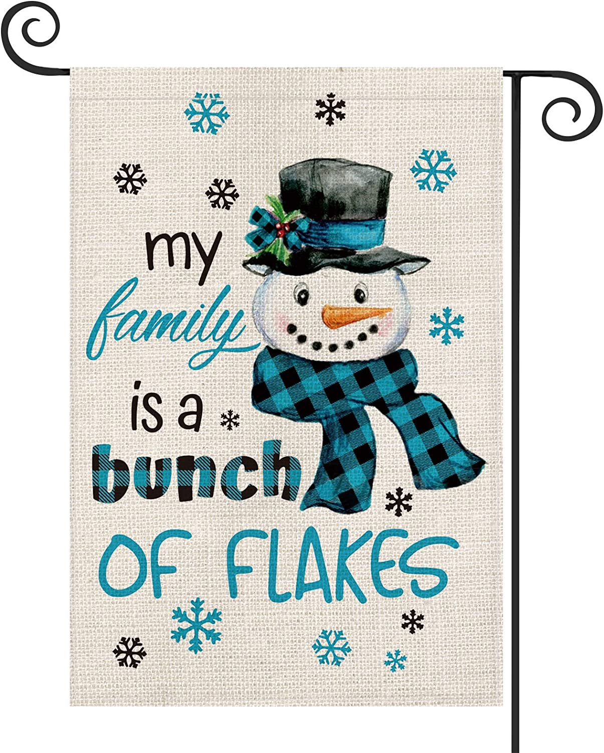 AVOIN Buffalo Plaid Snowman Garden Flag Vertical Double Sized, Christmas Winter Holiday My Family is a Bunch of Flakes Party Yard Outdoor Decoration 12.5 x 18 Inch