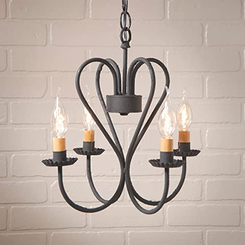 Irvin s Country Tinware Small Georgetown Chandelier in Textured Black