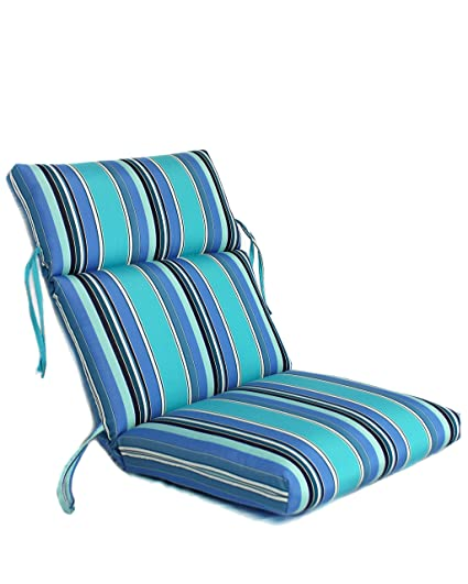 22w X 44l X 5h Hinge At 24 Sunbrella Outdoor Channeled Chair Cushion In Dolce Oasis By Comfort Classics Inc