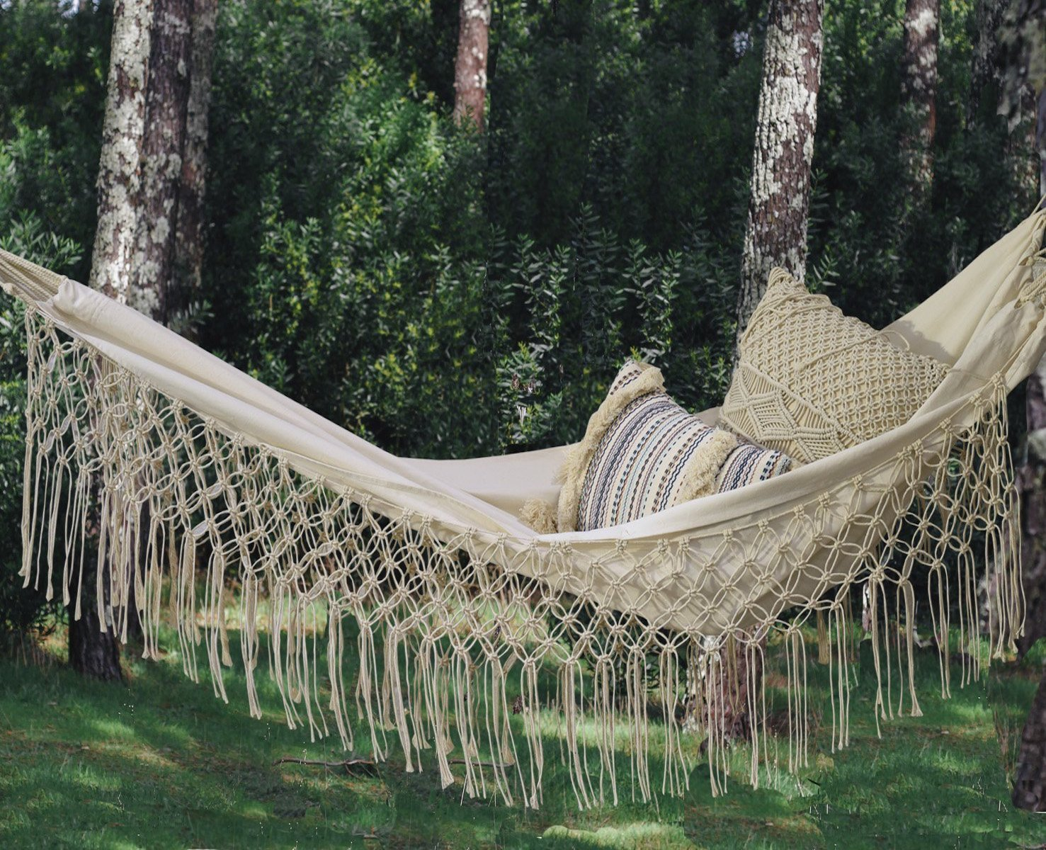 Fringed Macramé Hammock Cotton Tree Hammock Swing Bed for Patio,79'' Lx59 W