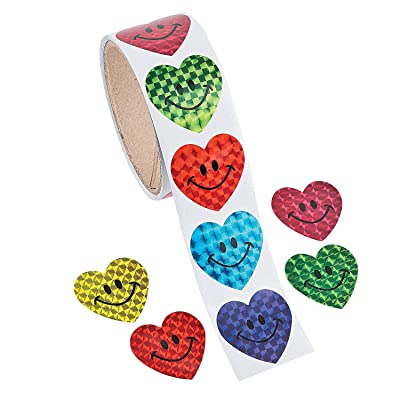 Fun Express - Prism Smile Face Heart Stickers (100pc) for Valentine's Day - Stationery - Stickers - Stickers - Roll - Valentine's Day - 100 Pieces: Toys & Games