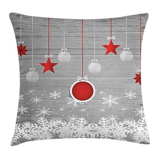 ABAKUHAUS Navidad Funda para Almohada, Tema Celebración Tradicional con Estrellas Adornos Colgantes Copos de Nieve, Colores Perdurables Tela Lavable, ...