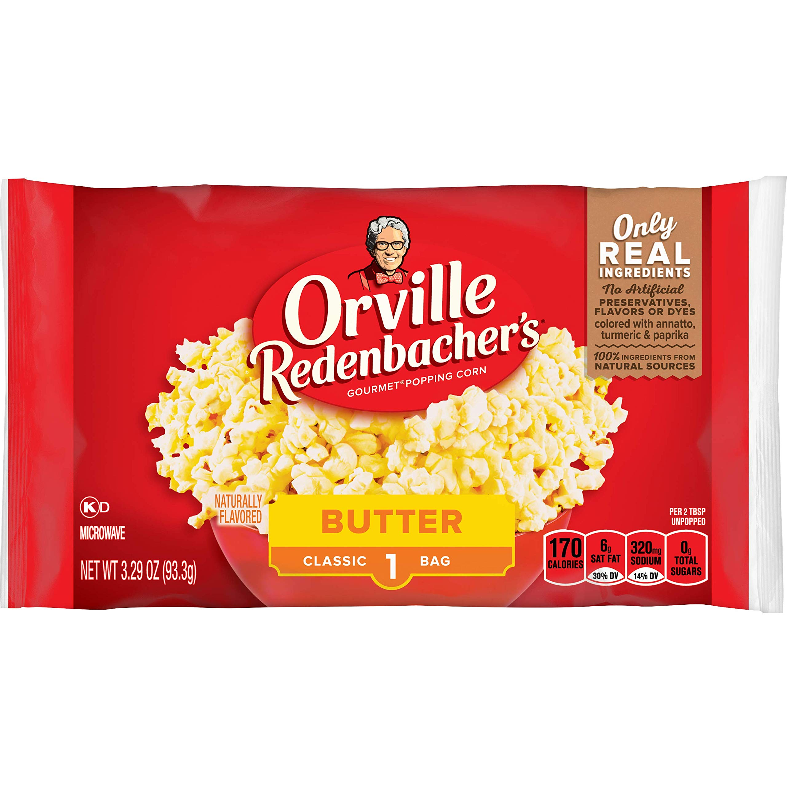 CDM product Orville Redenbacher's Butter Popcorn, 3.29 Ounce Classic Bag, Pack of 36 big image