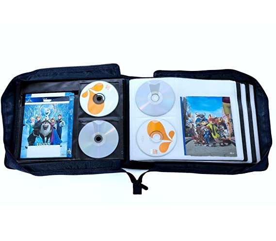 Amazon.com: DVD CD Storage Case With Extra Wide Title Cover Pages For Blu  Ray Movie Music Audio Media Disk (Portable Carrying Binder Holder Wallet  Album ...