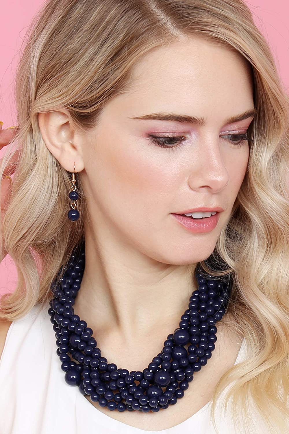 Sparkly Crystal RIAH FASHION Braided Chunky Cluster Bead Bubble Statement Necklace Multi Strand Twisted Colorful Twisted Ball Hammock Bib Collar Acrylic