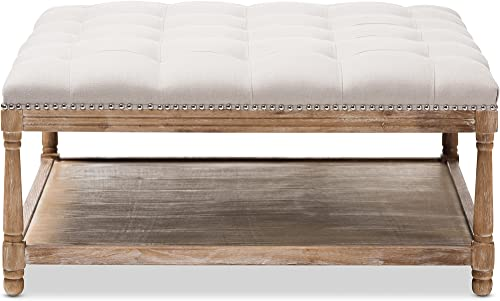 Baxton Studio Valensole French Country Weathered Oak Rectangular Coffee Table Ottoman