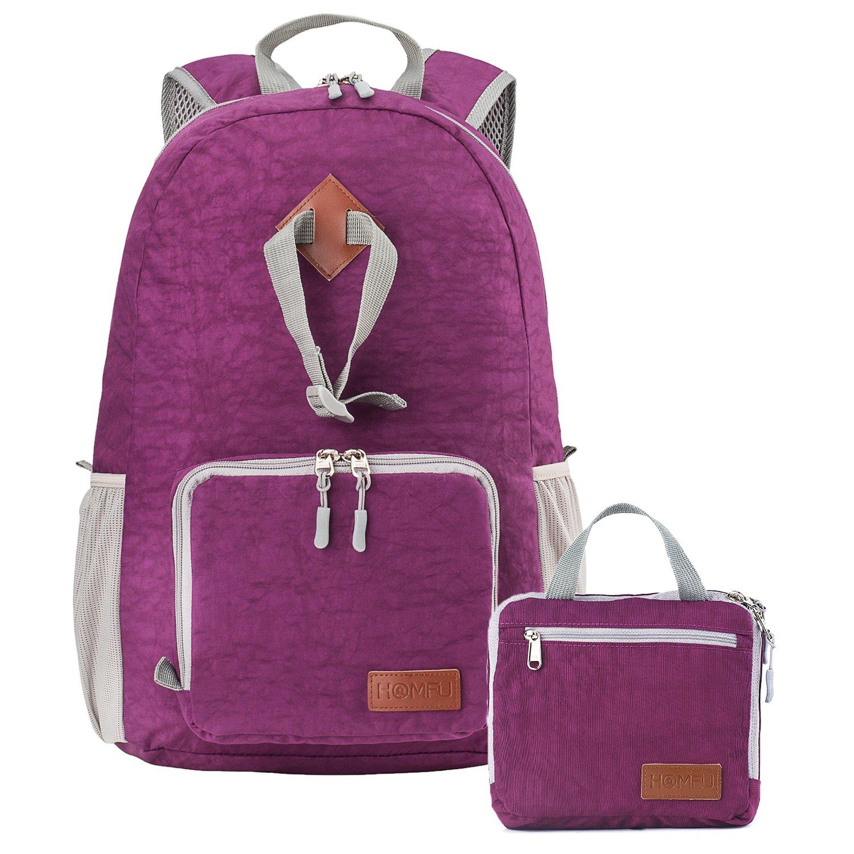 30L Dark Purple Homfu Foldable Backpack for Travel Packable Daypack for Hiking Camping Waterproof Lightweight Bag Black