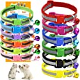 GAMUDA Puppy Collars – Super Soft Nylon Whelping Puppy Collars - Adjustable Litter Collars Pups – Assorted Colors Reflective Plain & Identification Collars with 2 Record Keeping Charts – Set of 12