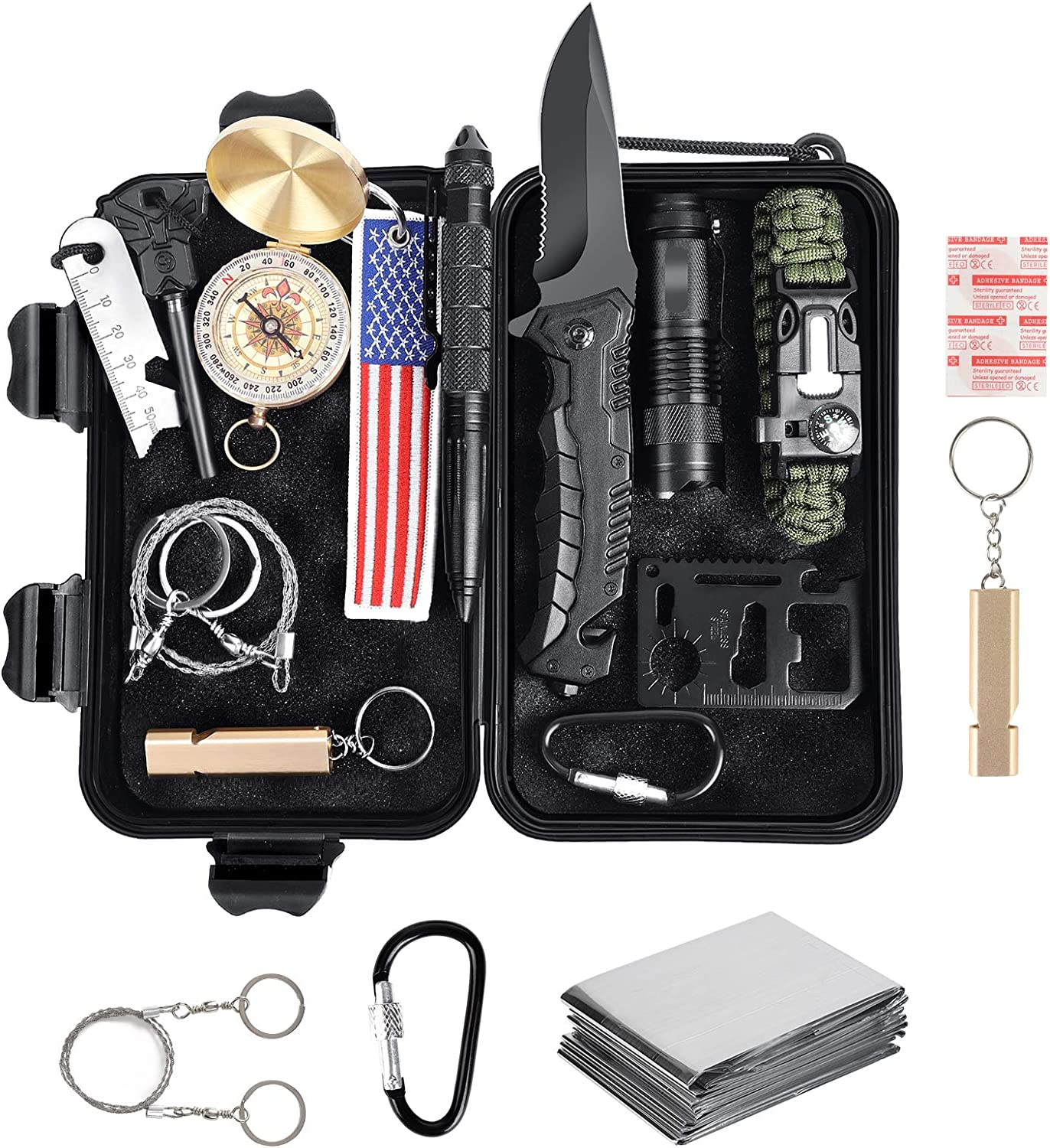 TEQUIERO Survival Kit 15 PCS,Outdoor First Aid Gear Emergency Tool Kits for Camping Boat Hunting Hiking Home Car Earthquake and Adventures