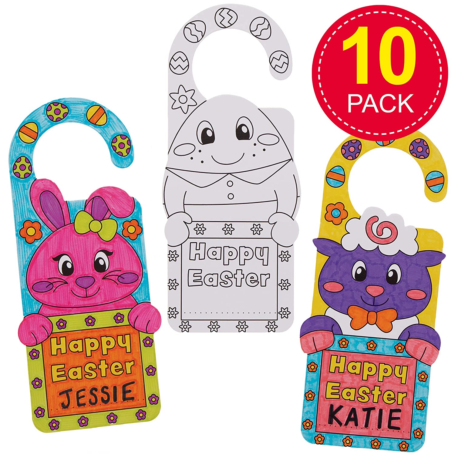Pack of 10 Educational Toys Keepsakes Ideal for Kids Arts and Crafts Baker Ross AT508 Easter Color in Door Hangers Gifts