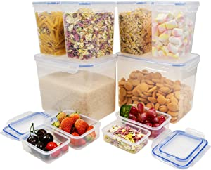Brieftons Food Storage Containers: 10 Pack, Up to 6.5 Quarts, with Airtight, Leakproof Lids, Plastic BPA Free Kitchen Pantry Organization Containers for Sugar, Flour, Snack, Cereals & Baking Supplies