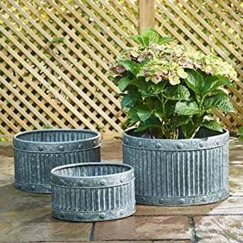 Zinc Round Low Garden Planter Set of 3: Amazon.co.uk: Garden ... on zinc planter boackround on white, zinc garden statues, zinc bowls, zinc furniture, zinc window boxes,
