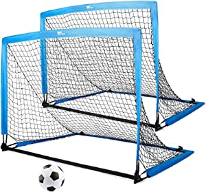 amzdeal Portable Soccer Goal, 4×3ft Soccer Nets for Backyard Easy Fold-up Soccer Training Games for Kids and Teens, Set of 2 with Carry Bag