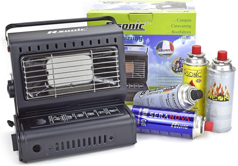 RSonic - TruWare Calefacción de gas para camping, calefactor de cerámica, para exteriores, 1,3 kW