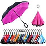 NewSight Reverse/Inverted Double-Layer Waterproof Straight Umbrella, Self-Standing & C-Shape Handle & Carrying Bag for Free Hands, Inside-Out Folding for Car Use