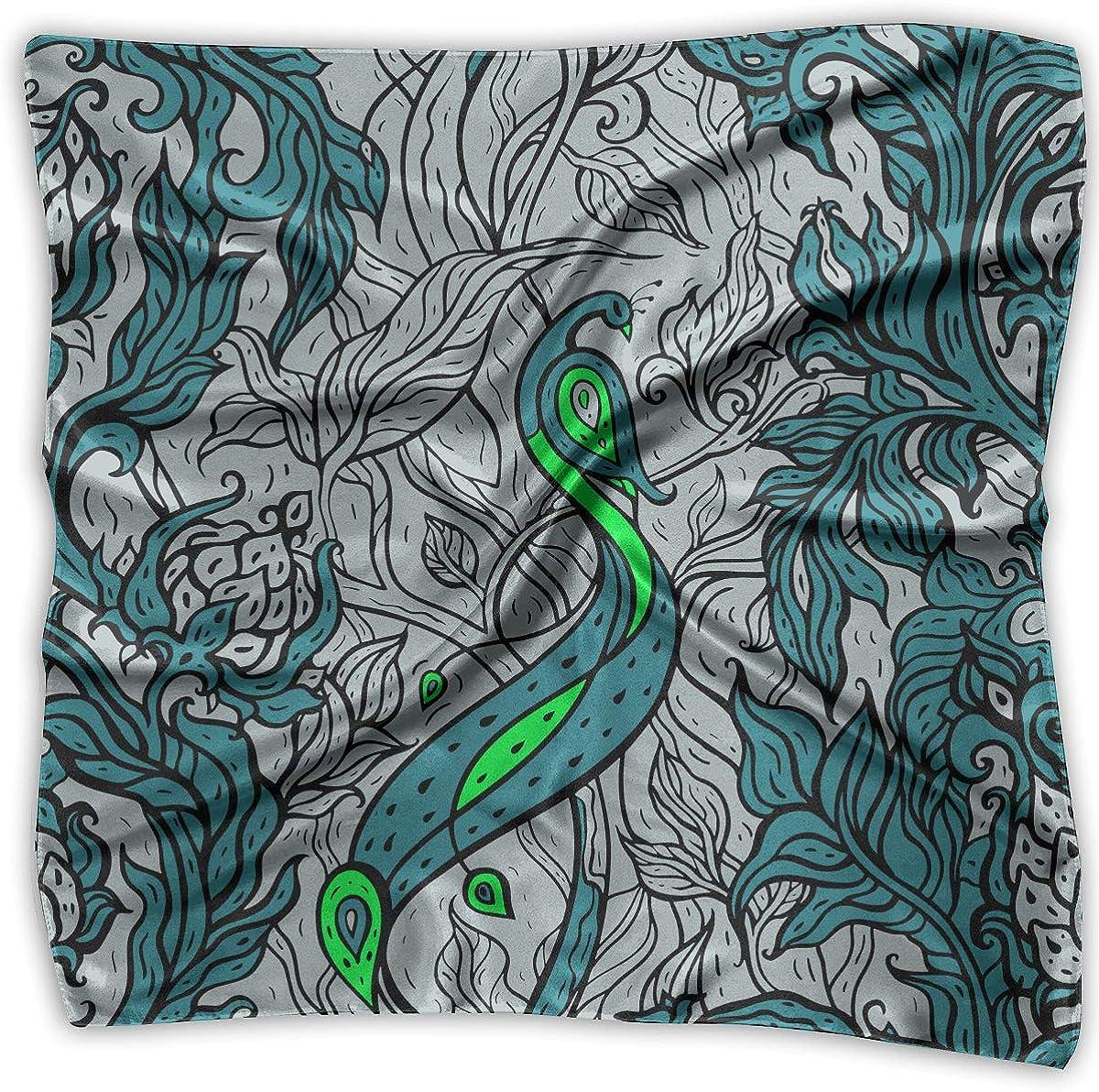 Womens Popular Handkerchiefs Tropical Background Square Silk Party Handkerchiefs