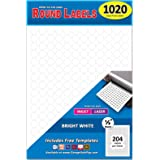 """Pack of 1020 1/2"""" Round Circle Dot Labels, White, 8 1/2"""" x 11"""" Sheet, Fits Any Printer"""