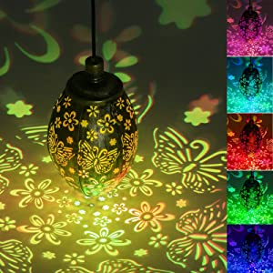 Eeauld Solar Lanterns Outdoor Hanging 2 Mode Muti-Color Changing Solar Lights Outdoor Metal RGB LED Garden Decor Lights for Patio, Garden, Courtyard, Lawn, Christmas Decoration