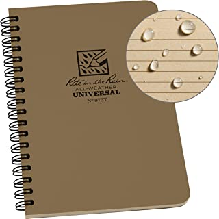 "product image for Rite in the Rain All-Weather Side-Spiral Notebook, 4 5/8"" x 7"", Tan Cover, Universal Pattern (No. 973T)"