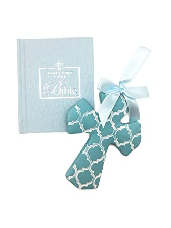 Christening Gifts For Boys Gift Set Blue Cross for Baby Boys and Baby's First Bible for