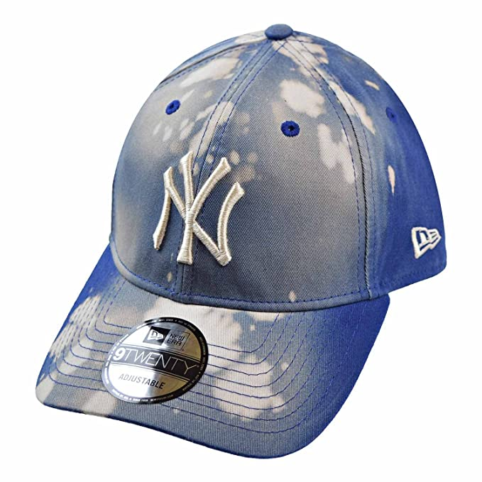 e805c764 New Era New York Yankees Bleached Out 9Twenty Men's Strapback Hat Cap  Blue/Grey 11520521 (Size os) at Amazon Men's Clothing store: