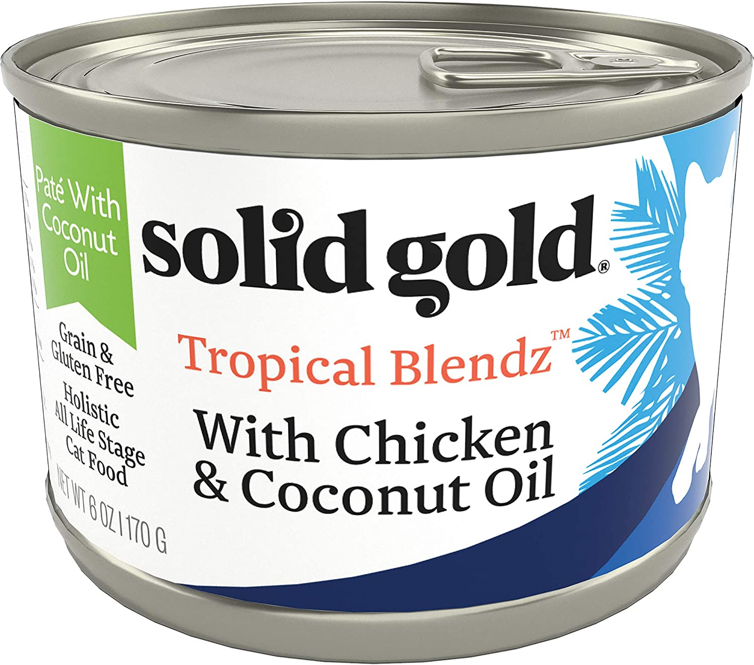 Solid Gold Tropical Blendz Pate with Coconut Oil - Grain-Free Wet Cat Food with Real Chicken - 6oz (16 Count)