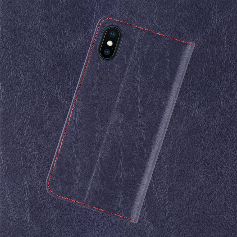 iPhone X Genuine Leather Case: iATO Premium Protective Wallet Real Cowhide Cover. Unique, Stylish & Classy Folio Flip Book Type Accessory Dark Blue Cover for iPhone X / 10 [Supports Wireless Charging]