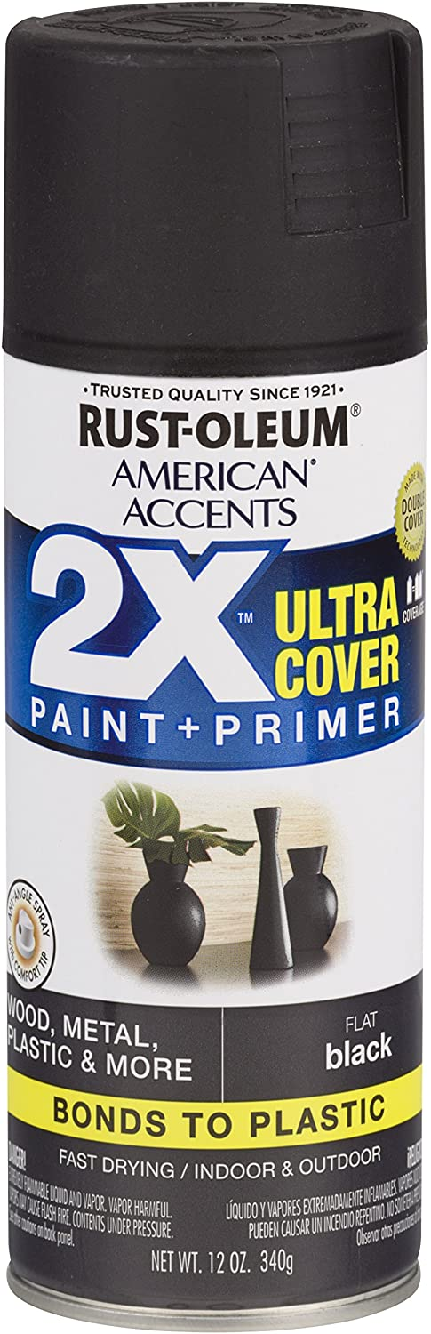 Rust-Oleum 327866 American Accents Spray Paint, 12 oz, Flat Black