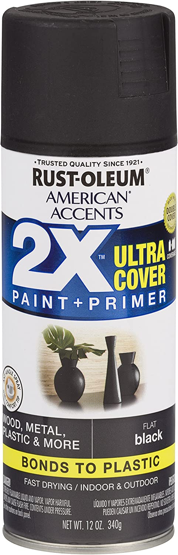 Rust-Oleum 327866-6 PK American Accents Spray Paint, 6 Pack, Flat Black