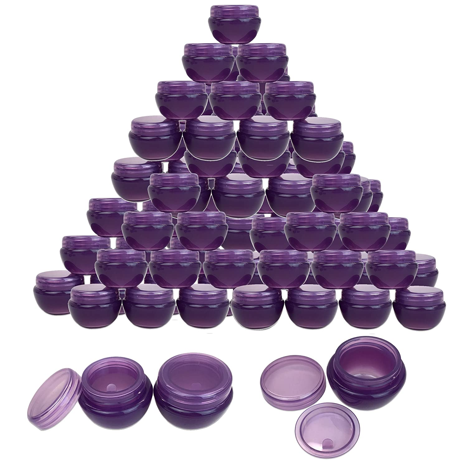 Beauticom 48 Pieces 10G 10ML Purple Frosted Container Jars with Inner Liner for Homemade Moisturizers, Lotions, Skin Care Products – BPA Free