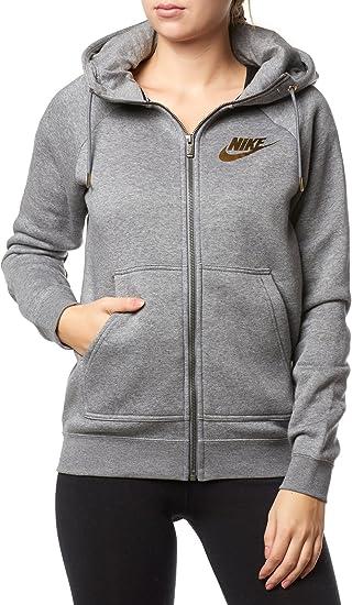 Nike 874116 091 Sweat Shirt à Capuche Femme, Carbone Chiné