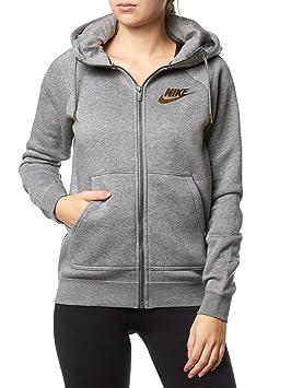 f3c28a6d24858 Nike 874116-091 Sweat-Shirt à Capuche Femme, Carbone Chiné/Gris Froid