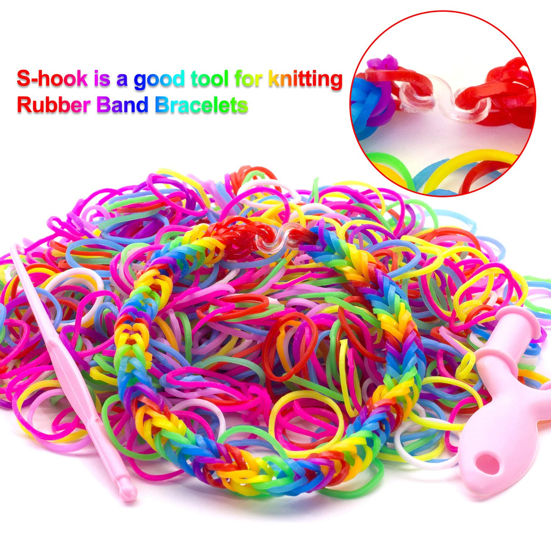 500 Pieces S Clips Rubber Band Clips Plastic Connectors Refills Kit Clip for Loom Bracelets Colorful